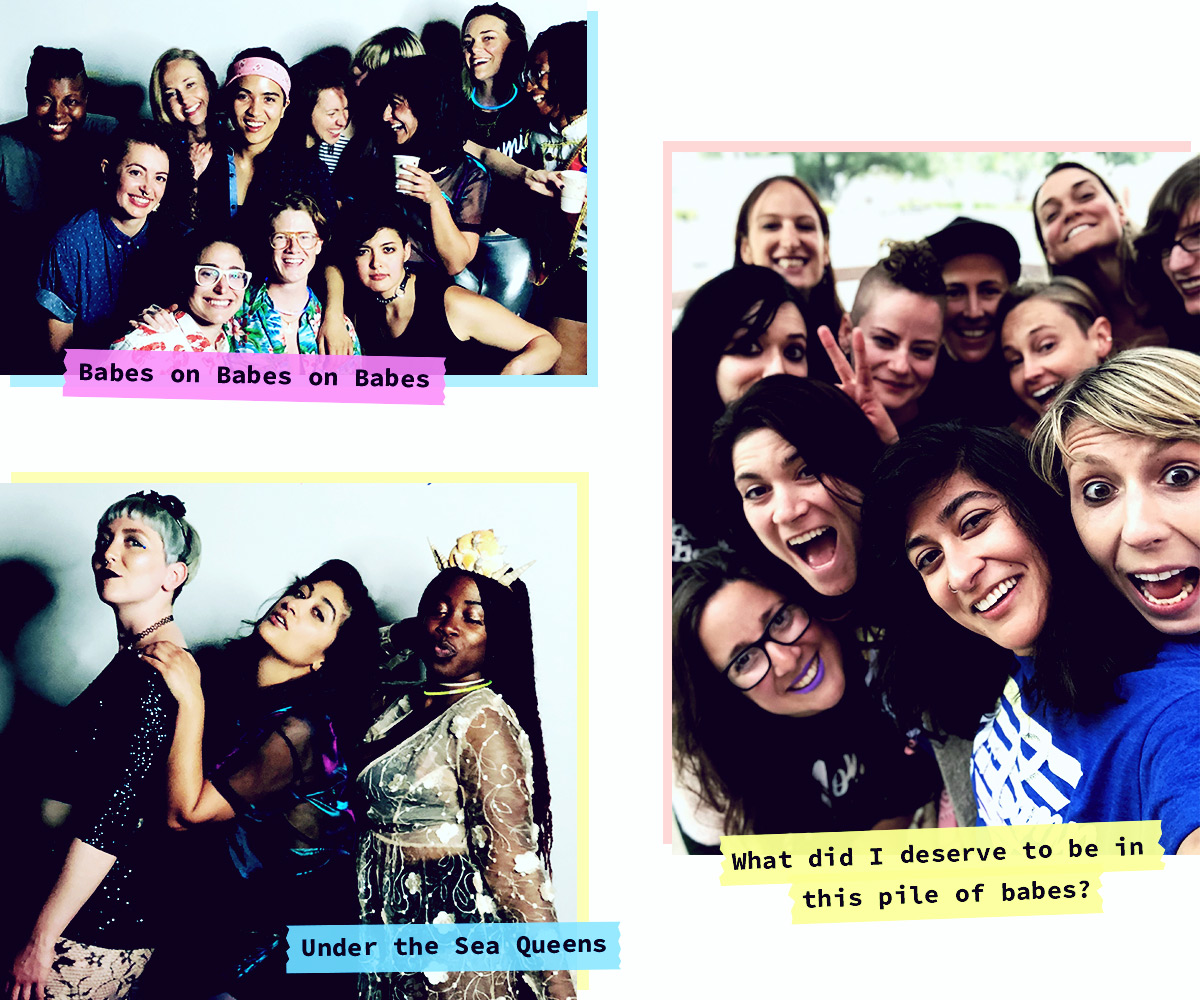 3 group photos with the captions [babes on babes on babes, what did i deserve to be in this pile of babes, and under the sea queens]
