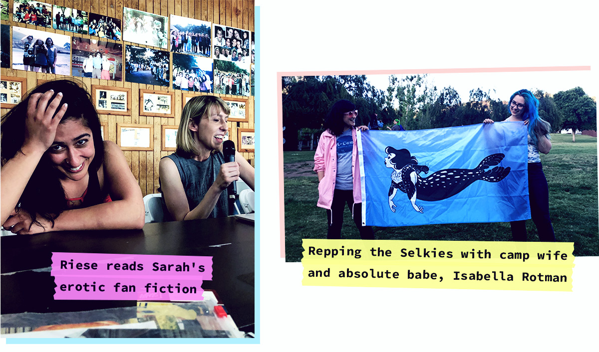 Sarah is holding her face while Riese reads her erotic fan fiction, Sarah and Isabella Rotman holding up the Selkie Color War Flag