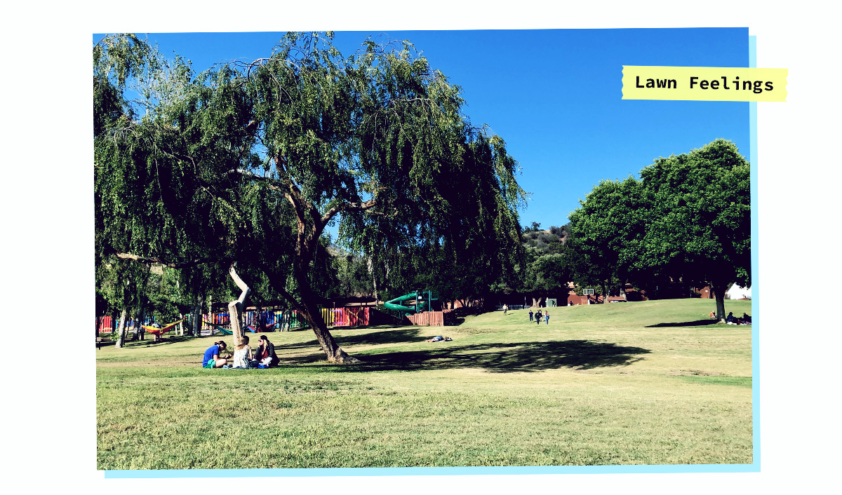 """the a-camp grounds, blue skies green grass, caption says """"lawn feelings"""""""