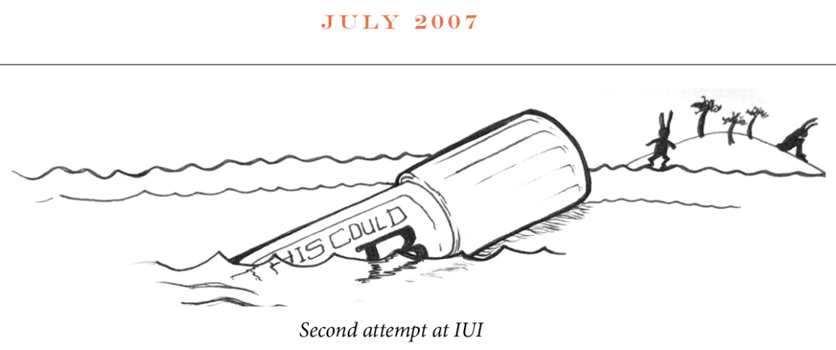 """July 2007 Image description: In the distance two rabbits occupy a desert island. One looks out to a vile, like a message in a bottle, floating in the ocean. On the side the vile says """"This could B."""" The second rabbit sits facing away. Caption: """"Second attempt at IUI"""""""