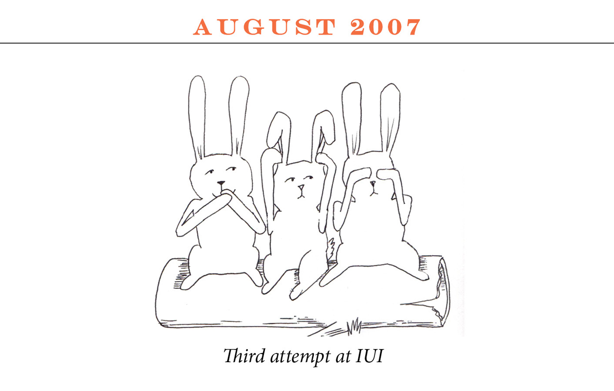 "August 2007 Image description: Three rabbits sit on a log miming the speak-no-evil, hear-no-evil, see-no-evil positions. Caption: ""Third attempt at IUI"""