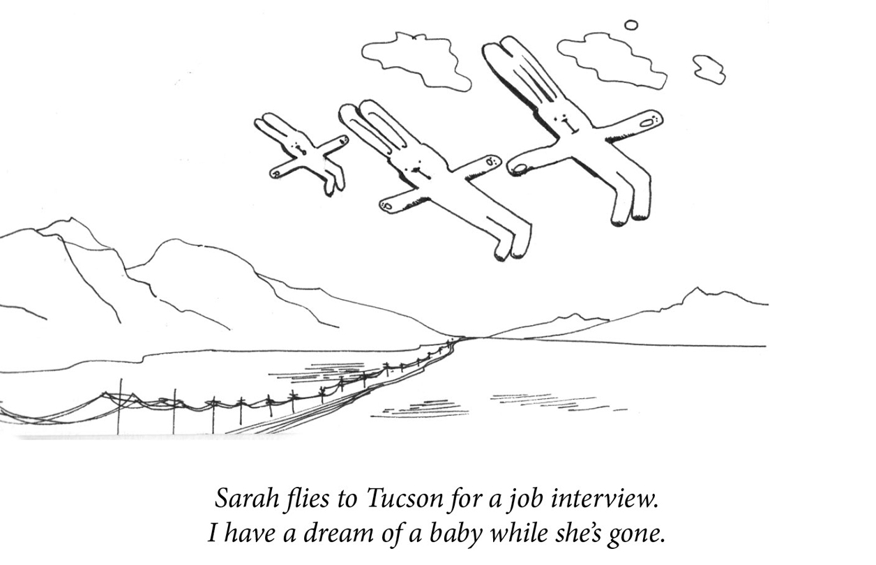 "Image description: Three rabbits lie fly above a desert highway, two large, one small. Caption: ""Sarah flies to Tucson for a job interview. I have a dream of a baby while she's gone."""