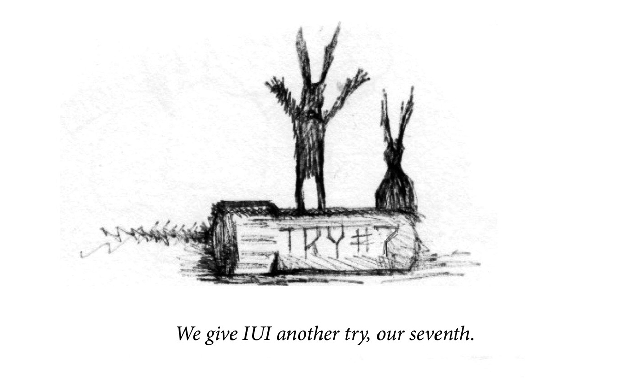 "Image description: Two rabbits are in silhouette, drawn as scratched lines. In the foreground a vile reads, ""Try #7"". Caption: ""We give IUI another try, our seventh. """