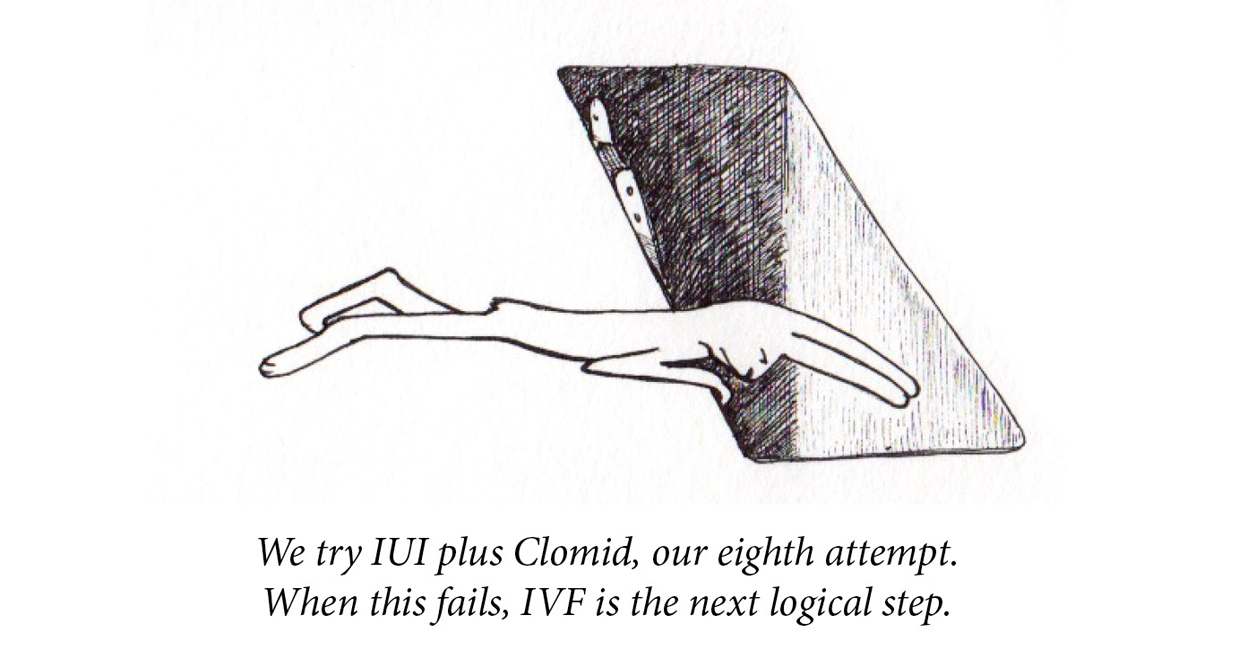 "Image description: A rabbit lies on her stomach and looks into a deep grave-shaped hole with a ladder at its side. Caption: ""We try IUI plus Clomid, our eighth attempt. When this fails, IVF is the next logical step."""