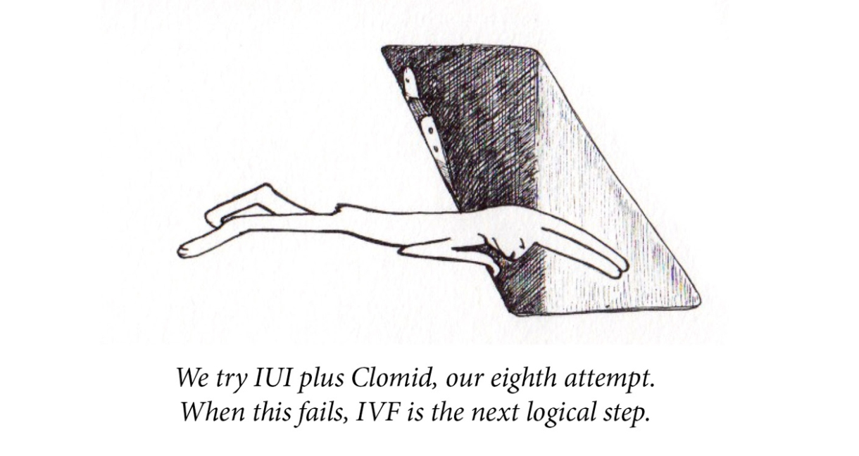 """Image description: A rabbit lies on her stomach and looks into a deep grave-shaped hole with a ladder at its side. Caption: """"We try IUI plus Clomid, our eighth attempt. When this fails, IVF is the next logical step."""""""