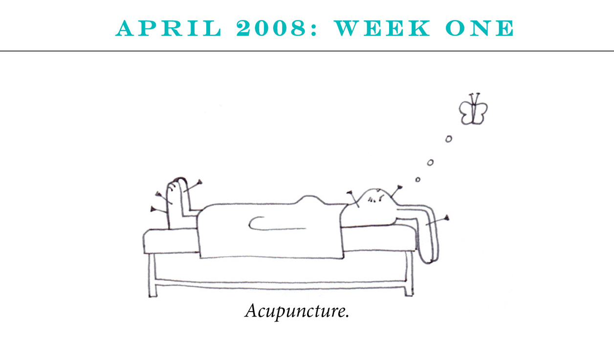 "April 2008: Week One Image description: A rabbit lies on a bed with six needles in various locations in its body. She's thinking about a butterfly. Caption: ""Acupuncture."""