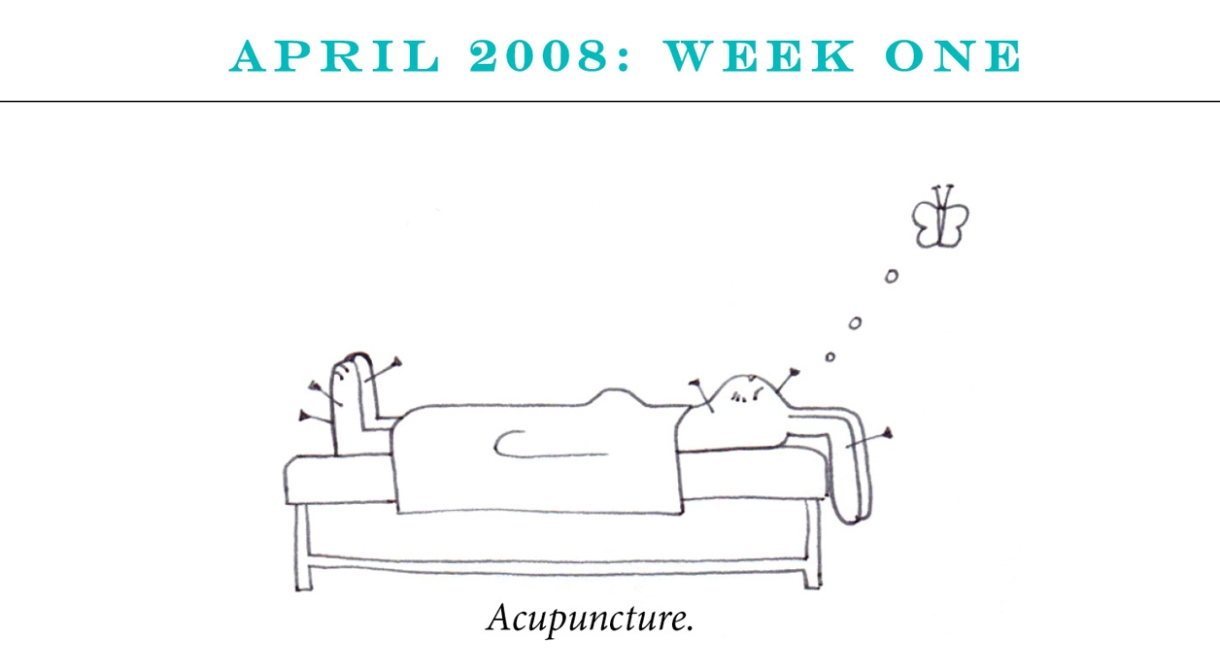 """April 2008: Week One Image description: A rabbit lies on a bed with six needles in various locations in its body. She's thinking about a butterfly. Caption: """"Acupuncture."""""""