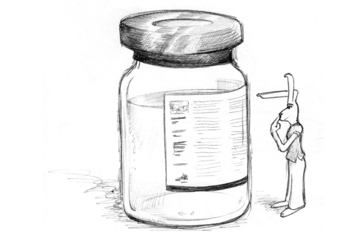 Image description: A rabbit reads the side of a bottle that is taller that she is.