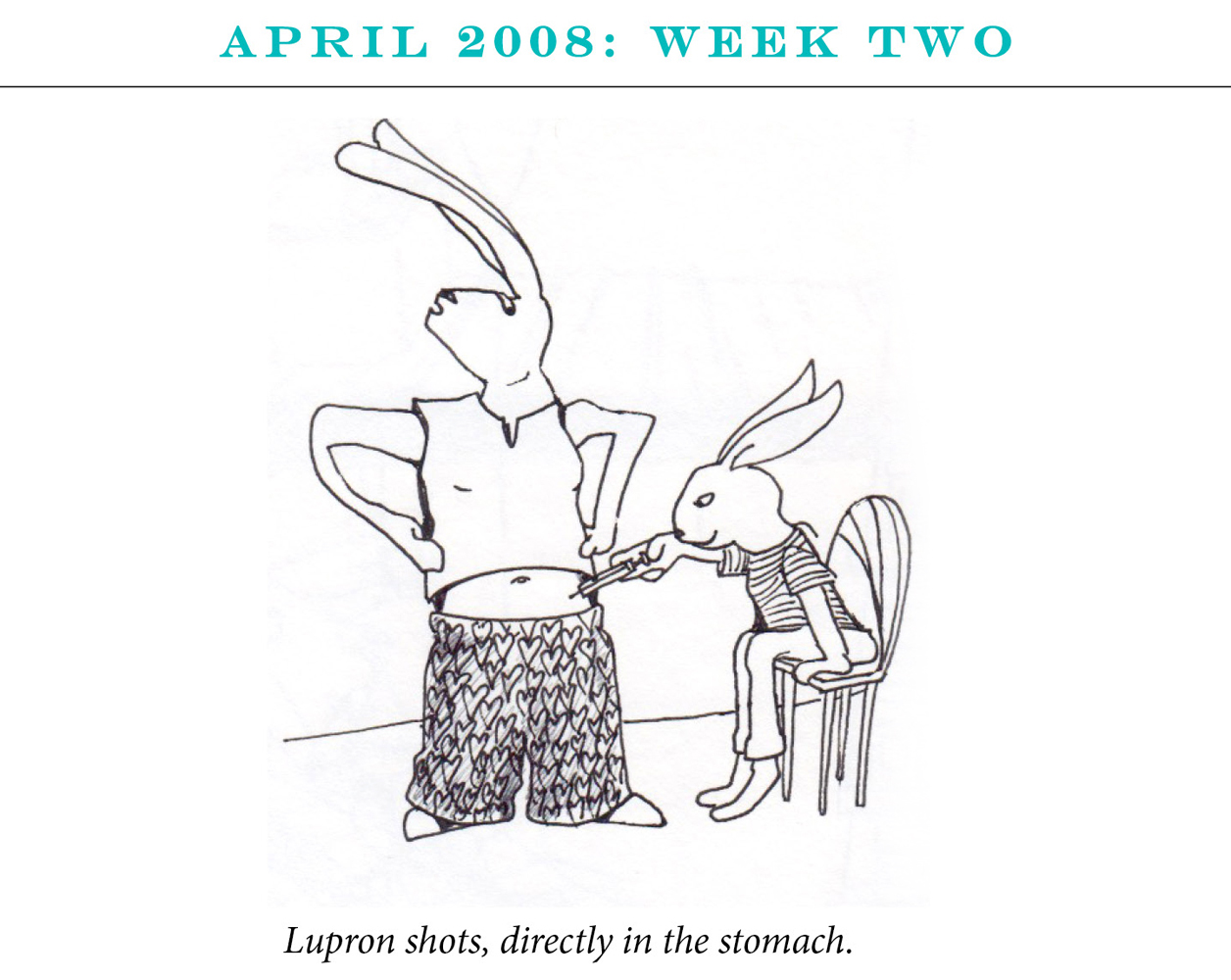 "April 2008: Week Two Image description: One rabbit sits on a chair giving the second rabbit a shot in the stomach. Caption: ""Lupron shots, directly in the stomach."""