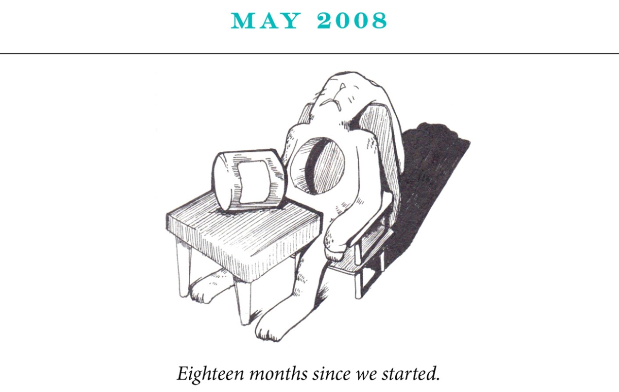 """May 2008 Image description: A rabbit is seated at a table with a circle shaped part of her body removed and lying on the table. Caption: """"Eighteen months since we started."""""""