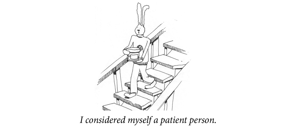 "Image description: A rabbit carries a cylinder down a flight of stairs. Caption: ""I considered myself a patient person."""