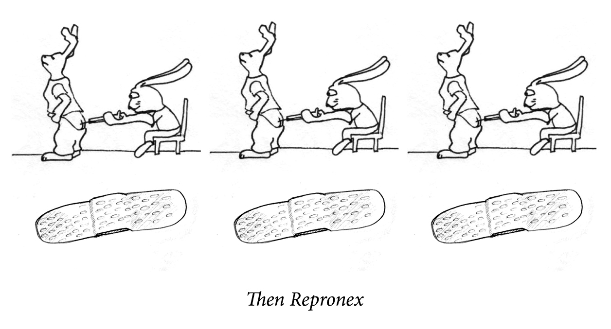 "Image description: A happy rabbit gives the other rabbit a shot in the ass. The same image repeats three times. Below is a line of three large bandaids. Caption: ""Then repronex."""