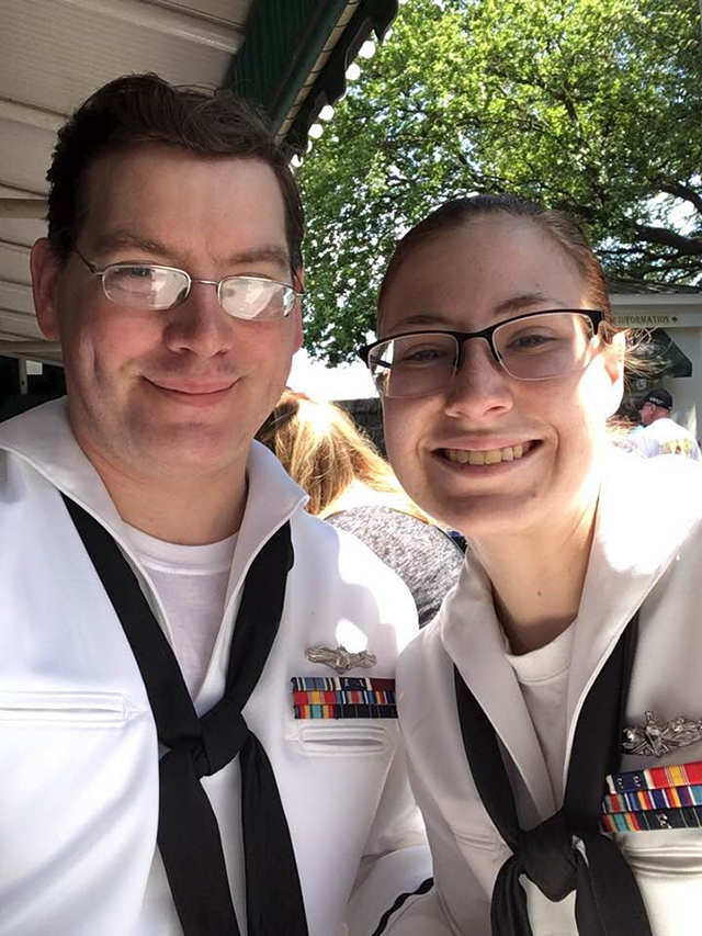 two smiling women in US Navy uniforms