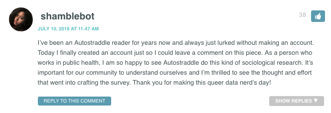 I've been an Autostraddle reader for years now and always just lurked without making an account. Today I finally created an account just so I could leave a comment on this piece. As a person who works in public health, I am so happy to see Autostraddle do this kind of sociological research. It's important for our community to understand ourselves and I'm thrilled to see the thought and effort that went into crafting the survey. Thank you for making this queer data nerd's day!