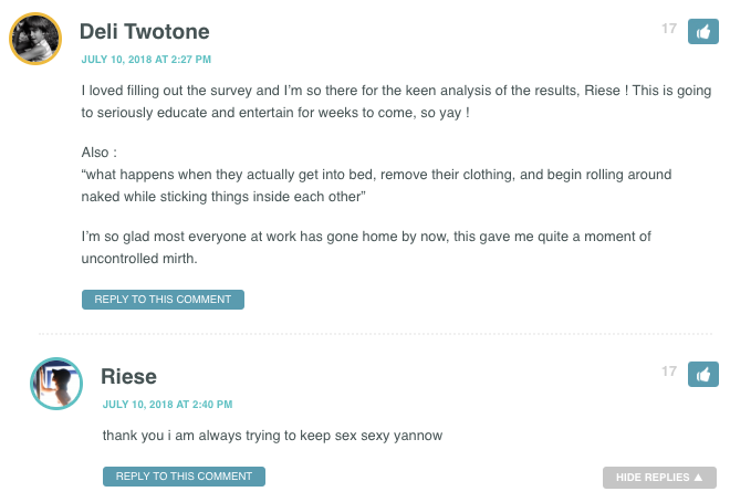 """I loved filling out the survey and I'm so there for the keen analysis of the results, Riese ! This is going to seriously educate and entertain for weeks to come, so yay ! Also : """"what happens when they actually get into bed, remove their clothing, and begin rolling around naked while sticking things inside each other"""" I'm so glad most everyone at work has gone home by now, this gave me quite a moment of uncontrolled mirth."""