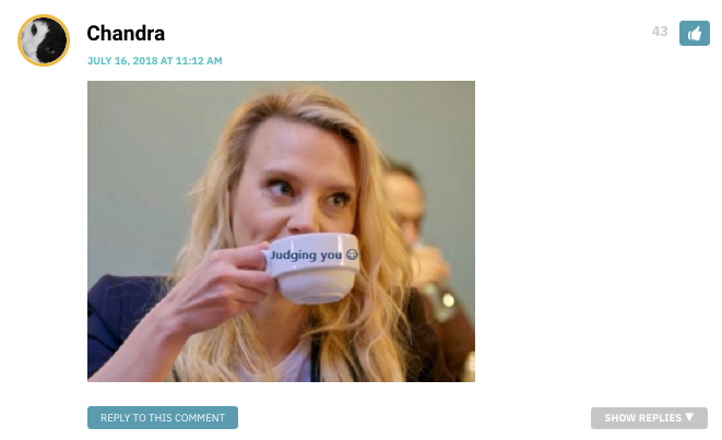 "Image of Kate Mackinnon drinking from a teacup during the episode. The teacup says ""judging you."""