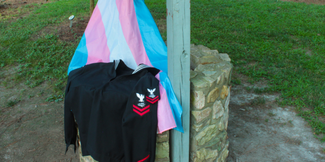 Navy uniform with trans flag