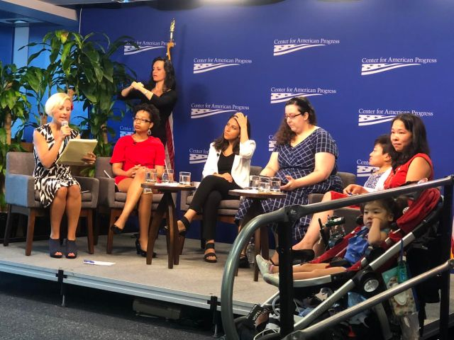 From left: Rebecca Vallas, Keri Gray, Noorain Khan, Julia Bascom, Mia Ives-Rublee, Elena Hung, and special guest star Xiomara Hung introduce the Disability Justice Initiative. Photo courtesy of Rebecca Cokley.