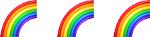 three rainbow emoji
