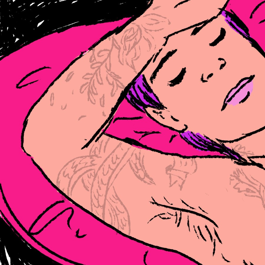 illustration of a Pillow princess, a person lying on a pillow being serviced