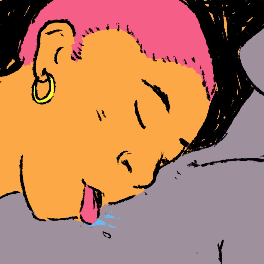 Illustration of a service top licking their partner