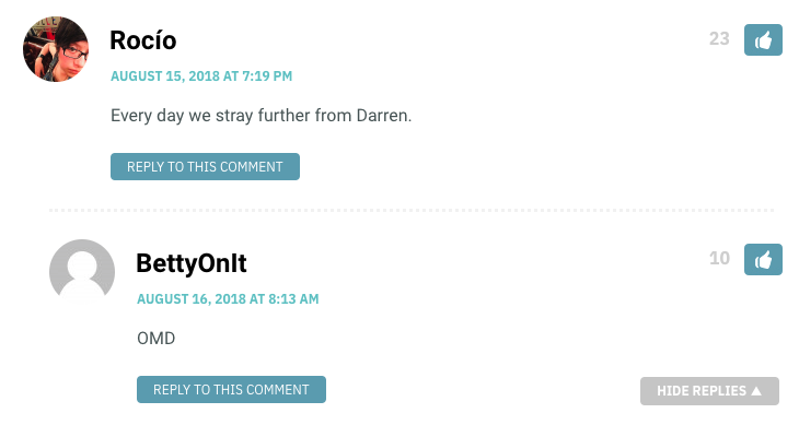Rocio: Every day we stray further from Darren. / BettyOnIt: OMD