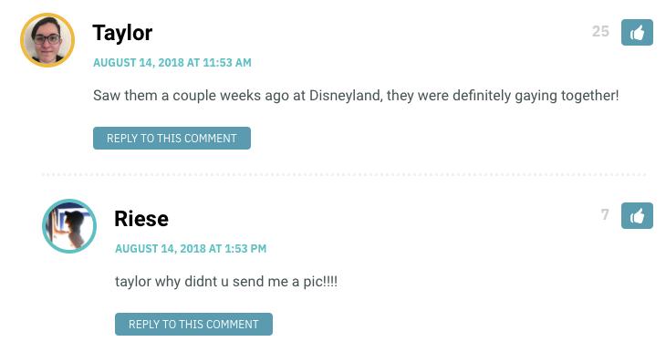 Saw them a couple weeks ago at Disneyland, they were definitely gaying together!
