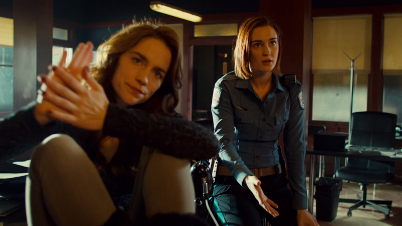 Wynonna high fives herself while Nicole ignores her