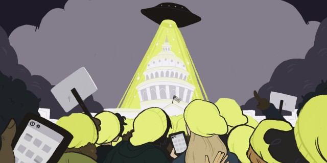 a crowd of people looking at a strange ship (READ: UFO) hovering over the capital, emitting an eerie yellow) holding cell phones with no service symbols on them