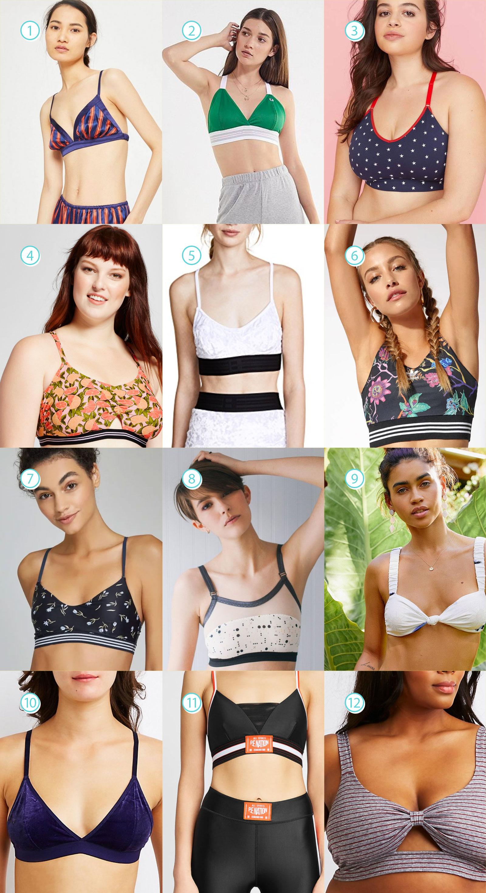 6cd67ab6e4442 Strappy Back Bralette  32.95 4. Xhilaration Women s Plus Size Printed  Bralette Bikini Top  19.99 5. Baja East Velour Sports Bra Top –  118.50