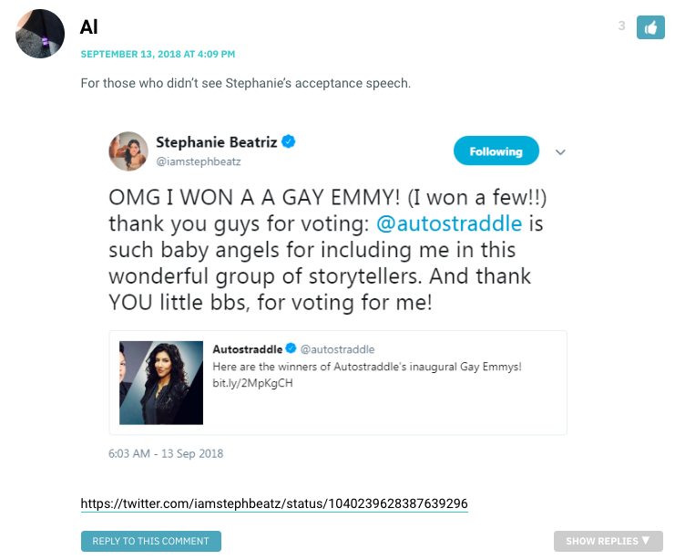 Al: For those who didn't see Stephanie's acceptance speech. / Stephanie Beatriz on twitter: OMG I WON A GAY EMMY! Thank you for voting; Autostraddle is such baby angels for including me.