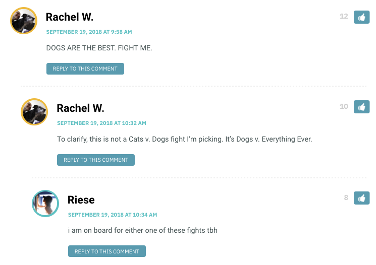 Rachel W.: DOGS ARE THE BEST. FIGHT ME...To clarify, this is not a Cats v. Dogs fight I'm picking. It's Dogs v. Everything Ever. / Riese: i am on board for either one of these fights tbh