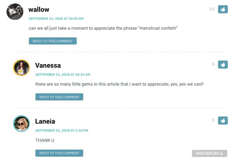 """can we all just take a moment to appreciate the phrase """"menstrual confetti"""""""