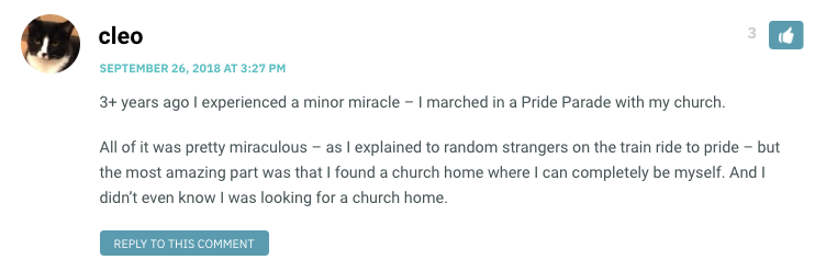 3+ years ago I experienced a minor miracle – I marched in a Pride Parade with my church. All of it was pretty miraculous – as I explained to random strangers on the train ride to pride – but the most amazing part was that I found a church home where I can completely be myself. And I didn't even know I was looking for a church home.
