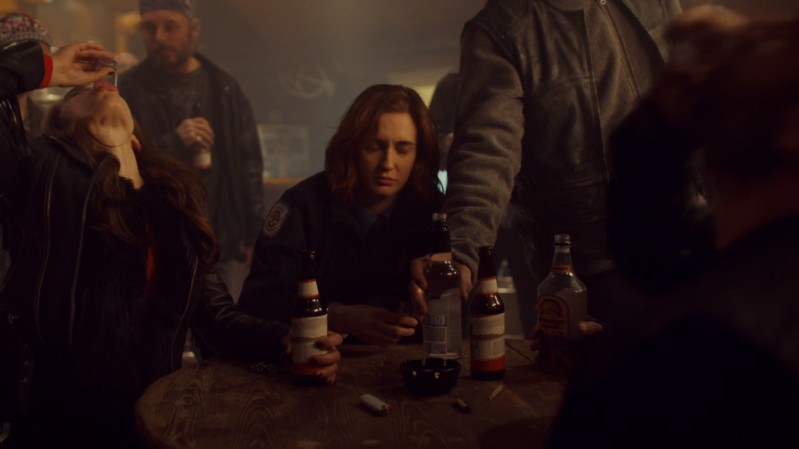 wynonna takes a shot while haught looks toasted