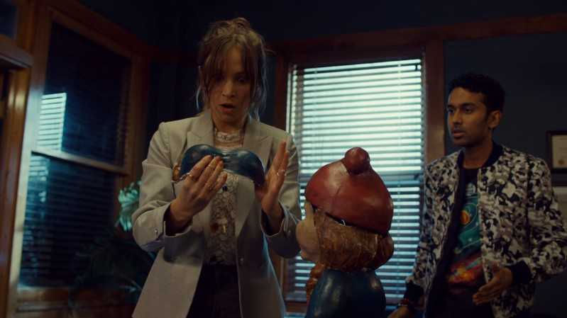 Waverly looks at the gnome boobs excited but confused