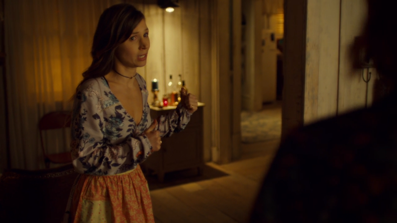 Waverly points panickedly out the door