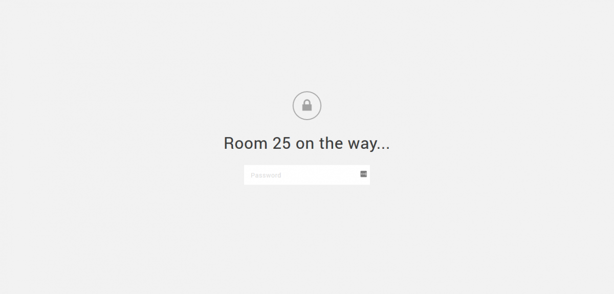 Title Room 25 is on the way with a password protected submission box against a light gray background.