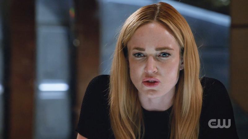 Sara Lance glares intensely