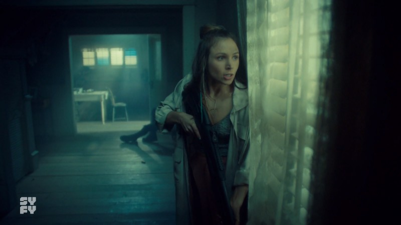 Waverly looks worriedly out the window