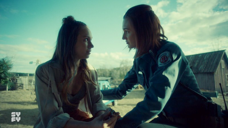 Waverly and Nicole look at each otehr intensely