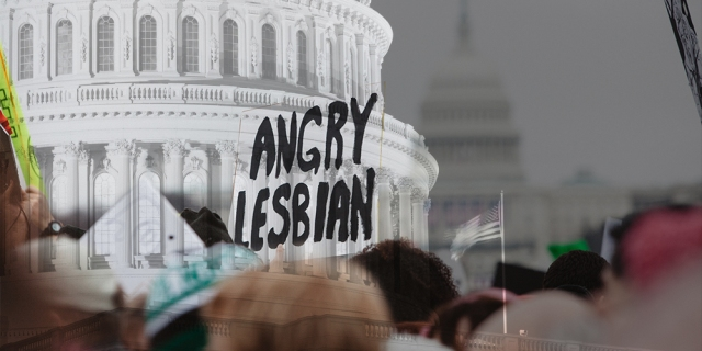 "A protest sign reads ""Angry Lesbian"" in black lettering in front of a graphic design rendering of Congress. Here's a guide for 2020 Voter Registration."