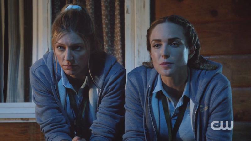 Sara and Ava guard the cabin