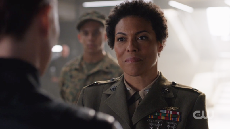 Colonel Haley is very attractive and smiling but still looks like she means business