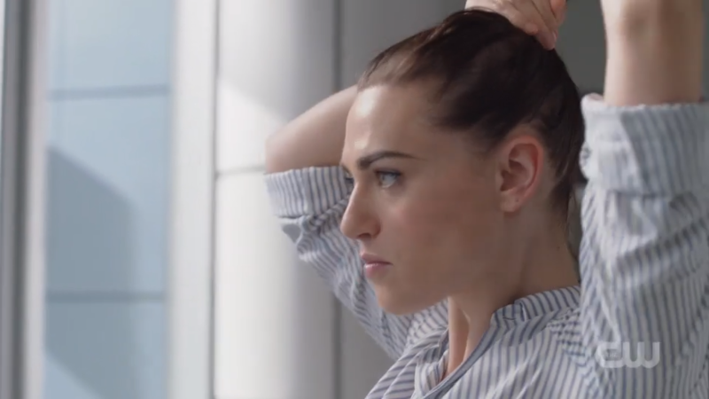 Lena puts her hair up