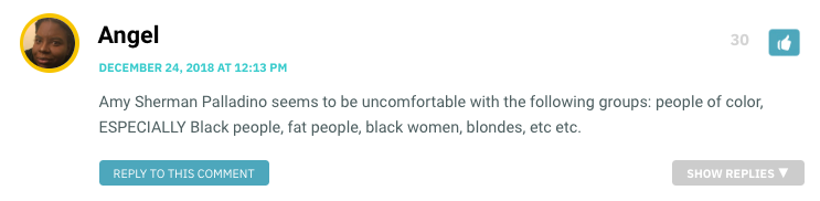 Amy Sherman Palladino seems to be uncomfortable with the following groups: people of color, ESPECIALLY Black people, fat people, black women, blondes, etc etc.