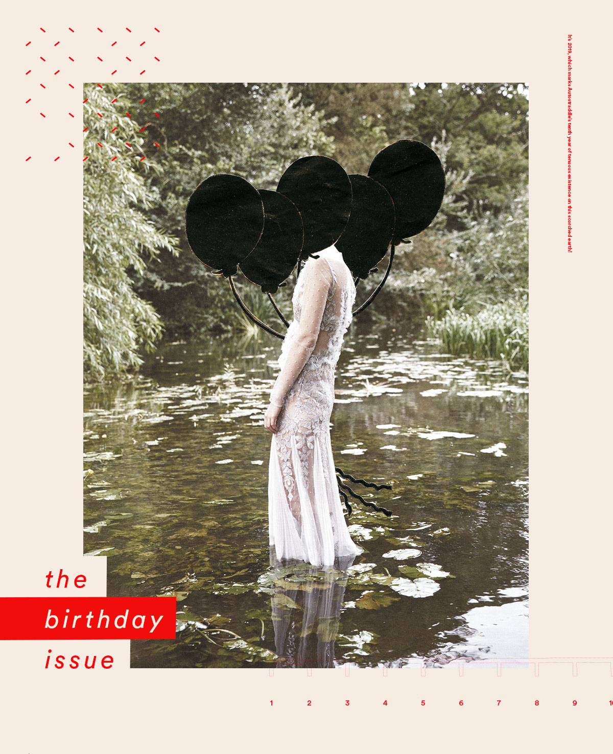 the birthday issue [graphic is a woman standing in the water, head is covered in black balloons]