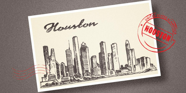 Postcard of Houston with Stamped imagery over it
