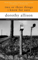 """Books with lesbian sex: Cover art of Dorothy Allison's """"two or three things i know for sure,"""""""