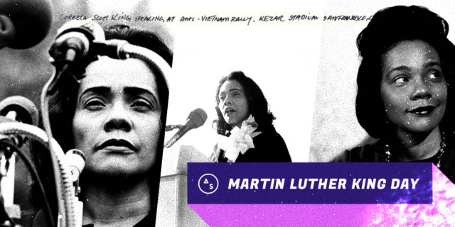 coretta scott king collage in black and white / martin luther king day